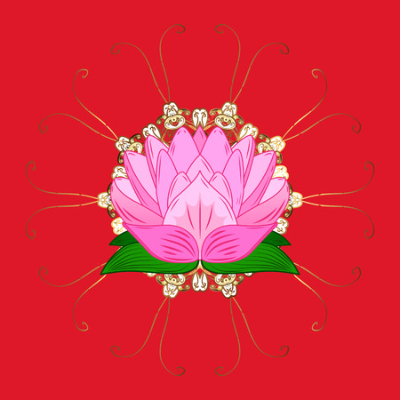 Vector illustration. Seamless spring pattern with little flowers. On pink, neutral and red colors in watercolor style.