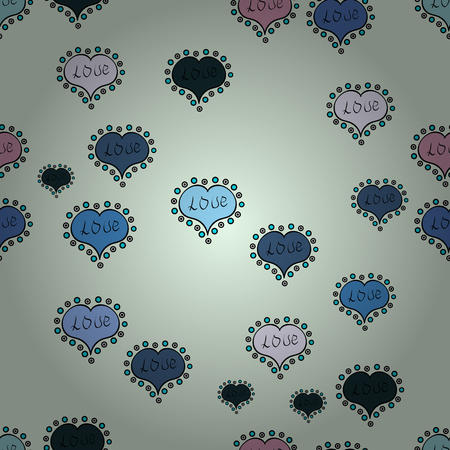 Love background. Seamless Love pattern. Vector illustration. Background of big and small hearts with swirls in neutral, blue and black colors.