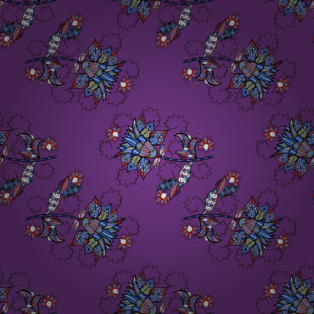Colour Spring Theme seamless pattern Background. Vector Fashionable fabric pattern. Cute flowers pattern with purple, blue and black colors. Flat Flower Elements Design.