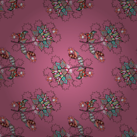 Hand drawn. Vector illustration. Seamless floral pattern in folk style with flowers, leaves.
