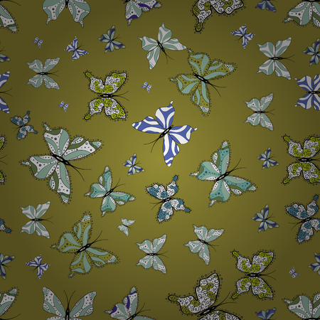 Perfect for web page backgrounds, wallpapers, textile, surface textures. Seamless pattern. Vector. Of watercolor butterflies on neutral, green and white background. Vector illustration. Illustration