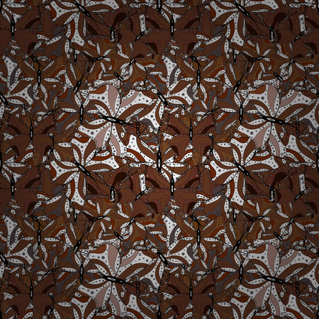 Doodles black, brown and white on colors. Design. Flat elements. Tender fabric pattern. Vector. Seamless pattern Print. Foto de archivo - 126344280