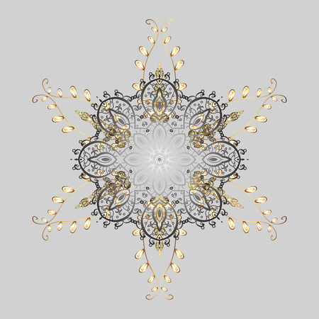 Flat lay. Winter pattern made of snowflake on golden colors. Vector illustration. Winter concept. Illustration