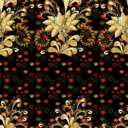 Gentle, spring floral on black, brown and yellow colors. Vector illustration. Vector floral pattern in doodle style with flowers and leaves.