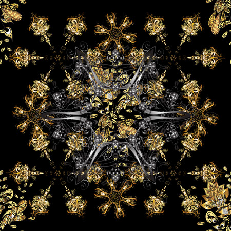 Black and gray colors with golden elements. Vector golden floral ornament brocade textile and glass pattern. Seamless golden pattern. Gold metal with floral pattern.