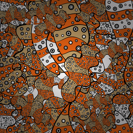 Seamless Beautiful fabric pattern. Vector. Doodles black, orange and beige on colors. Ilustração
