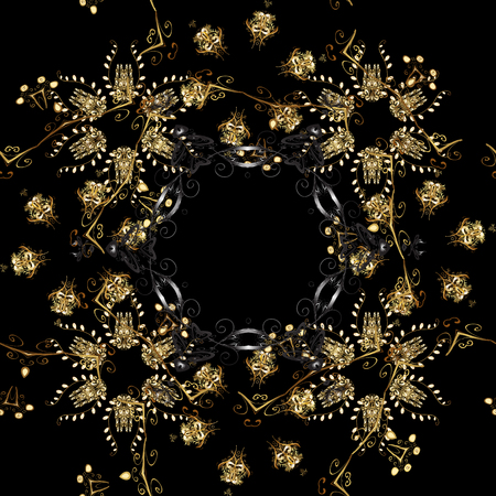 Vector golden floral ornament brocade textile and glass pattern. Black colors with golden elements. Gold metal with floral pattern. Seamless golden pattern.