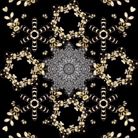 Seamless golden pattern. Black and gray colors with golden elements. Vector golden floral ornament brocade textile and glass pattern. Gold metal with floral pattern. Иллюстрация