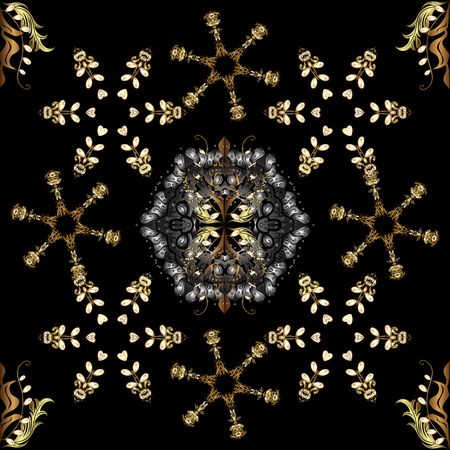 Ornate vector decoration. Seamless damask pattern background for wallpaper design in the style of Baroque. Golden pattern on gray and black colors with golden elements. Vetores