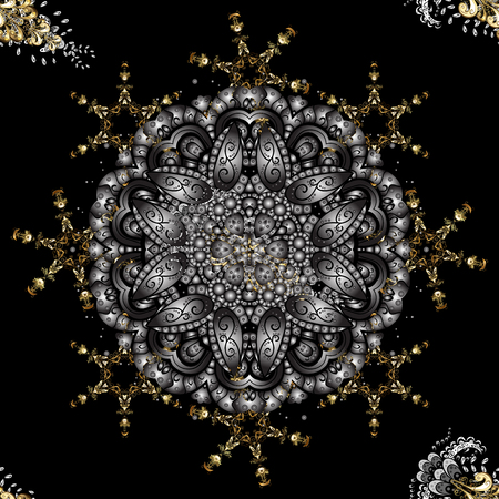 Traditional orient ornament. Seamless pattern on gray and black colors with golden elements. Seamless classic vector golden pattern. Classic vintage background.