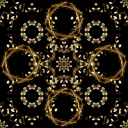 Damask seamless ornament. Classic oriental pattern over black and brown colors. Traditional vector and golden pattern.