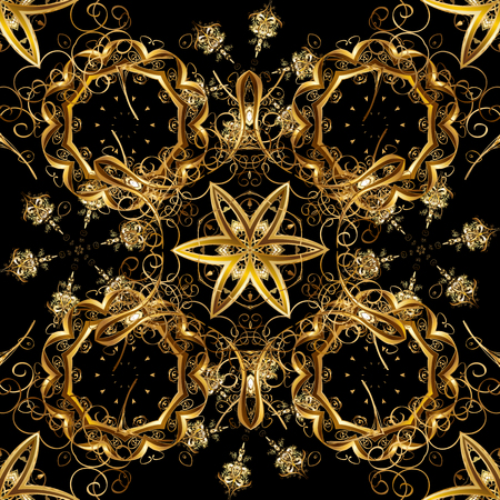 Vector illustration. Seamless abstract background. Oriental vector classic black and brown and golden pattern.