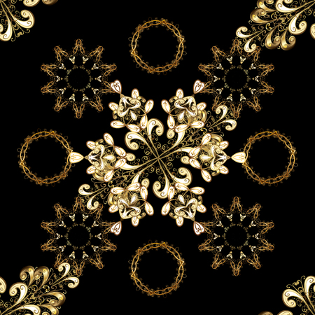 Damask seamless pattern for design. Vector seamless pattern on black and brown colors with golden elements. Иллюстрация