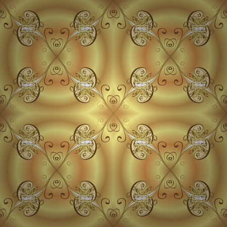 Golden pattern on yellow and beige colors with golden elements. Traditional classic golden pattern. Seamless oriental ornament in the style of baroque. Vector oriental ornament.