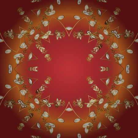 Floral ornament brocade textile pattern, glass, metal with floral pattern on orange, red and brown colors with golden elements. Classic vector golden seamless pattern.