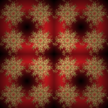 Vector ornamental pattern on red, brown and neutral colors with golden elements. Damask ornamental pattern for design.