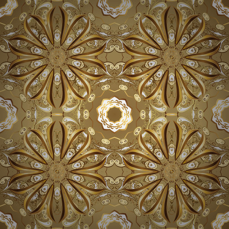 Vector seamless pattern on beige colors with golden elements. Damask seamless pattern for design. Иллюстрация