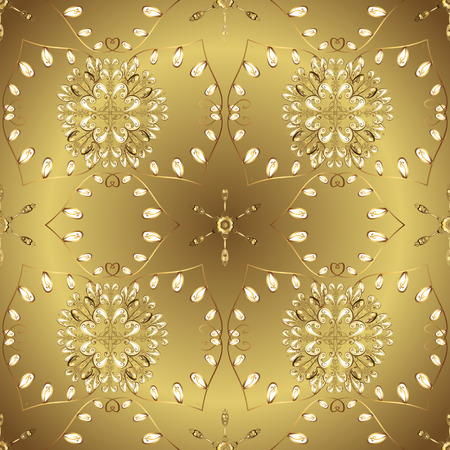 Floral ornament brocade textile pattern, glass, metal with floral pattern on colors with golden elements. Classic vector golden ornamental pattern. Vecteurs
