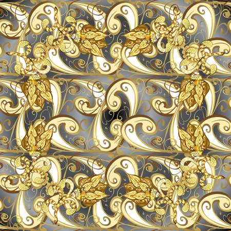 Seamless pattern on black colors with golden elements. Classic vector golden seamless pattern. Traditional orient ornament. Classic vintage background.