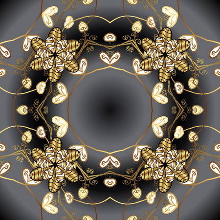 Vector illustration for invitations, cards, web page. Golden element on black colors. Line art seamless border for design template. Eastern style element. Golden outline floral decor.