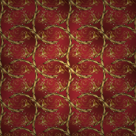 Seamless floral pattern. Graphic modern seamless pattern on brown and red colors. Wallpaper baroque, damask. Seamless vector background.
