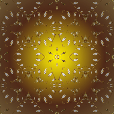 Damask ornamental pattern for design. Vector ornamental pattern on brown, yellow and beige colors with golden elements.