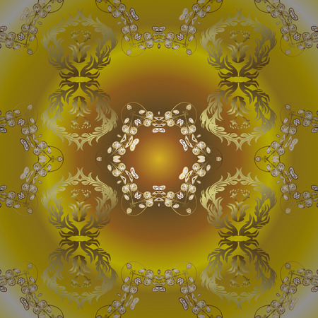 Carving. Luxury furniture. Ornamental element woodcarving. Pattern with golden elements. Yellow, brown and neutral backdrop with gold trim. Furniture in classic style. Patina. Small depth of field.  イラスト・ベクター素材
