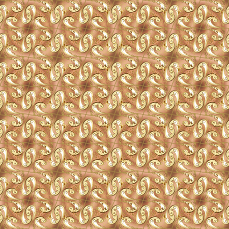 Vector traditional classic golden seamless pattern on beige and brown colors. Seamless oriental ornament in the style of baroque.
