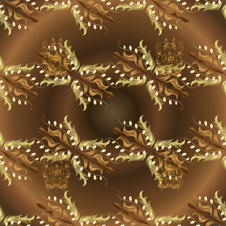 Luxury furniture. Brown and neutral backdrop with gold trim. Carving. Furniture in classic style. Seamless element woodcarving. Patina. Pattern on brown and neutral colors with golden elements.