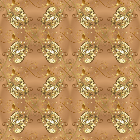 Seamless pattern on beige and brown colors with golden elements. Traditional orient ornament. Classic vintage background. Classic vector golden seamless pattern.