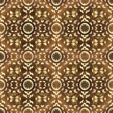 Seamless vintage pattern on brown and white colors with golden elements. Christmas, snowflake, new year 2019. Фото со стока - 126171829
