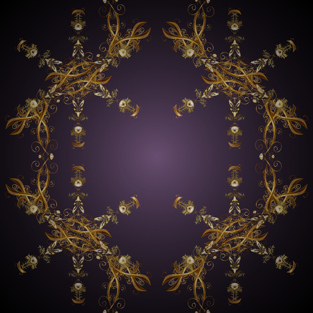Vector seamless pattern on gray and purple colors with golden elements. Damask seamless pattern for design. Иллюстрация