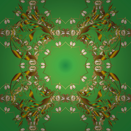 Classic vintage background. Traditional orient ornament. Seamless pattern on green and brown colors with golden elements. Classic vector golden seamless pattern. Illustration