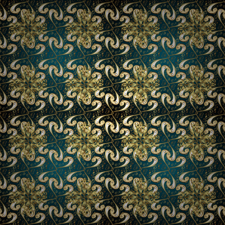 Vector traditional orient ornament. Golden pattern on blue and neutral colors with golden elements. Seamless classic golden pattern.