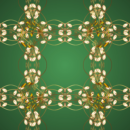 Golden pattern on green and brown colors with golden elements. Islamic design. Vector golden textile print. Floral tiles. Seamless pattern oriental ornament. 向量圖像