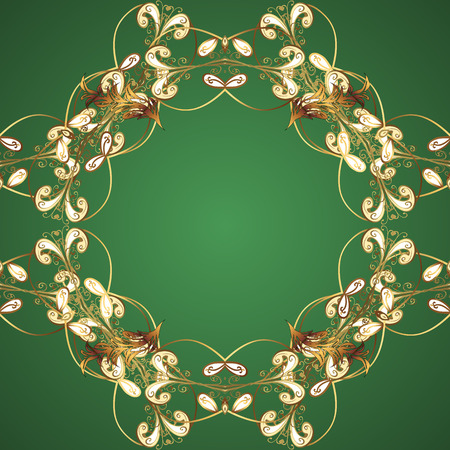Seamless golden pattern. Seamless pattern on green and brown colors with golden elements. Vector oriental ornament.
