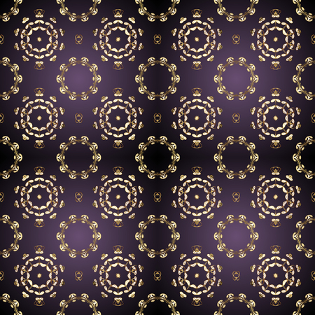 Traditional vector and golden pattern. Damask seamless ornament. Classic oriental pattern over gray and purple colors.