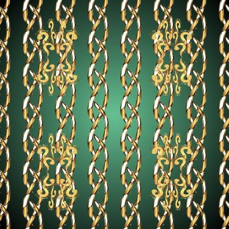 Traditional orient ornament. Seamless classic vector golden pattern. Seamless pattern on green and brown colors with golden elements. Classic vintage background.