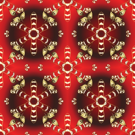 Graphic modern seamless pattern on brown and red colors. Wallpaper baroque, damask. Seamless vector background. Seamless floral pattern.