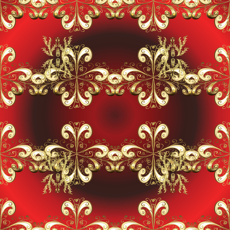 Vector. Seamless pattern on red, brown colors with golden element. Openwork delicate golden pattern. Oriental style arabesques. Seamless golden texture curls. Brilliant lace, stylized flowers, paisley Çizim