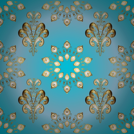 Vector seamless pattern on neutral and blue colors with golden elements. Damask seamless pattern for design. Иллюстрация