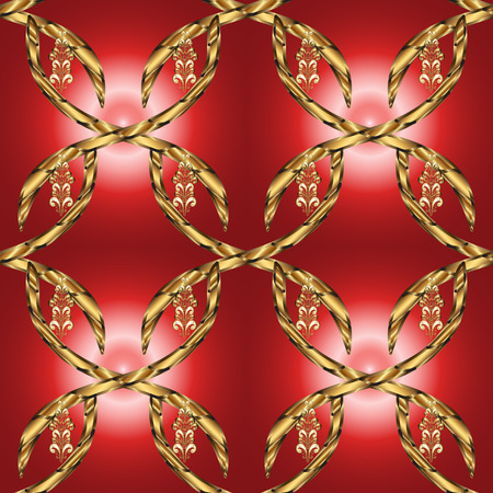 Vector illustration for invitations, cards, web page. Golden outline floral decor. Eastern style element. Line art seamless border for design template. Golden element on brown and red colors.