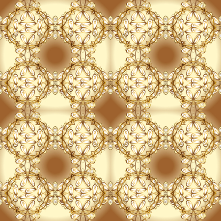 Vector seamless pattern on beige and brown colors with golden elements. Damask seamless pattern for design.