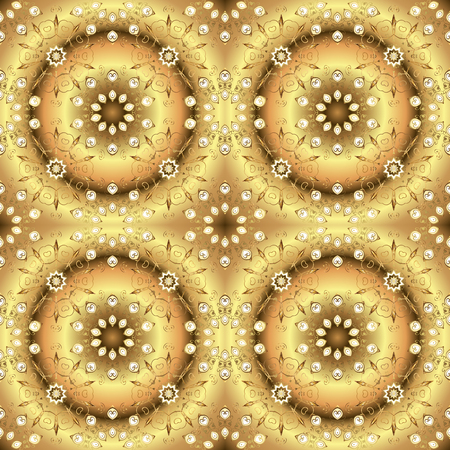 Damask gold abstract flower seamless pattern on colors. Ornate decoration. Vector illustration. Illustration