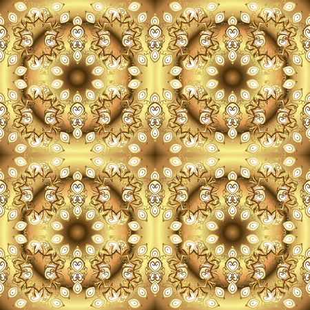 Damask gold abstract flower seamless pattern on colors. Vector illustration. Ornate decoration.