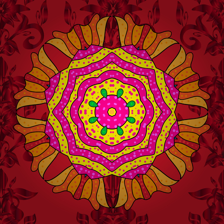 Geometric circle vector element. Kaleidoscope, medallion, yoga, india, arabic. Ornament red, magenta and yellow colored card with mandala. Tribal, Boho, Bohemian style.