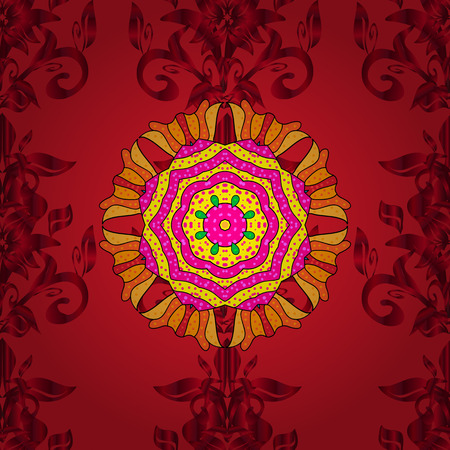 Vector colored design abstract mandala sacred geometry illustration on a red, magenta and yellow colors. Illustration