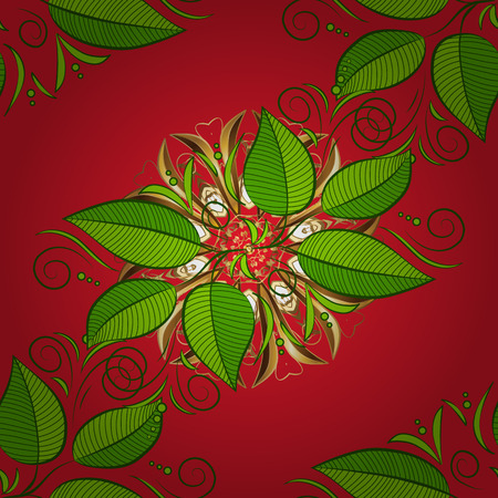 Elegant beautiful nature ornament for fabric, wrapping and textile. Scrapbook green, red and brown paper. Cute vector leaf seamless pattern. Abstract print with leaves.