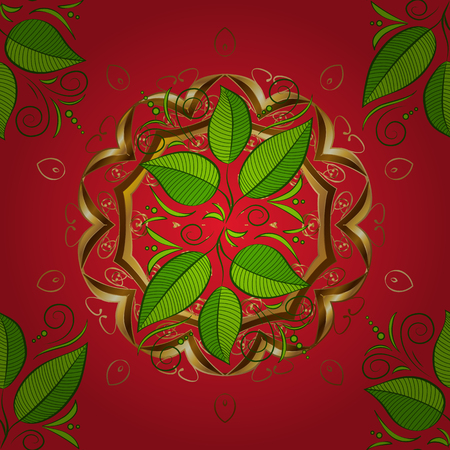 Millefleurs hand made design. Leaves illustration. Paisley print indian hand drawn elements.Nice leaves on green, brown and red colors. Handmade seamless watercolor floral indian pattern tile. Vector. 스톡 콘텐츠 - 115461007
