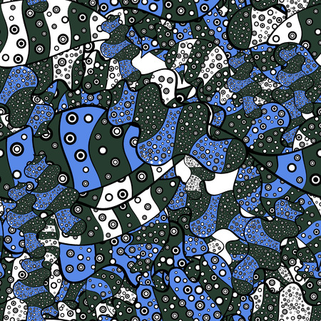 Seamless Beautiful fabric pattern. Vector. Doodles green, blue and black on colors. Foto de archivo - 126082604